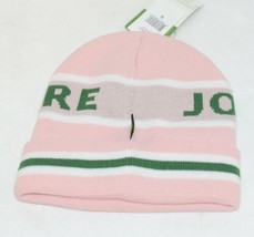 John Deere LP47339 Acrylic Pink Green And White Cuffed Beanie image 2