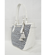 NWT Brahmin Small Willa Tote/Shoulder Bag in Denim Royal Palm. White and... - $299.00