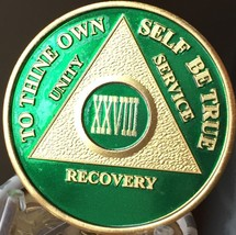28 Year AA Medallion Green Gold Plated Alcoholics Anonymous Sobriety Chi... - $20.39