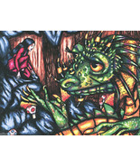 wise old female dragon lady original art print drawings friendship fanta... - $7.99