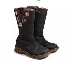 Carters Brown Toddler Girl Riding Boots Size 9 flowers zipper - $382,72 MXN