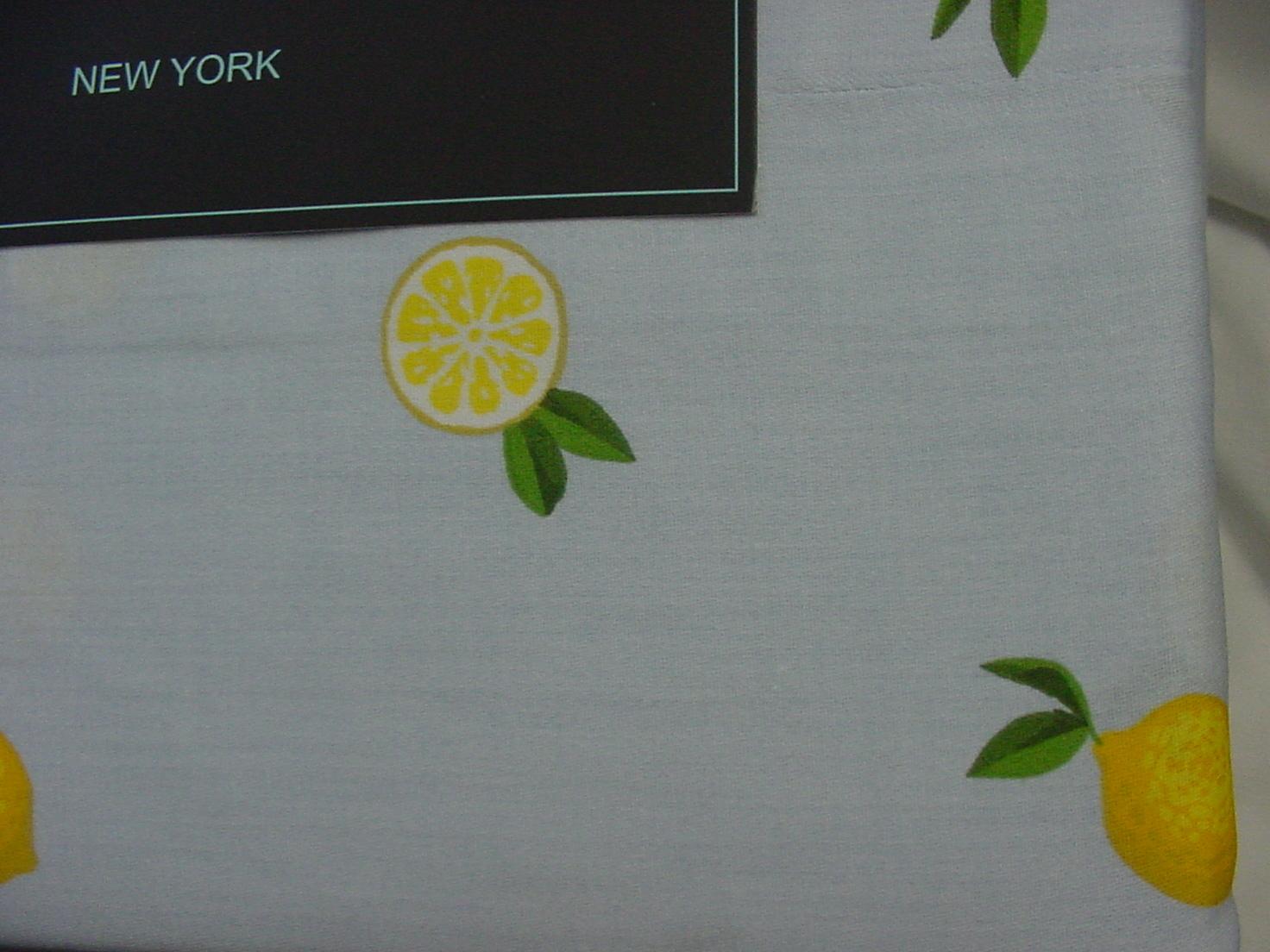 Cynthia Rowley Lemons on Light Blue Cotton Sheet Set Queen