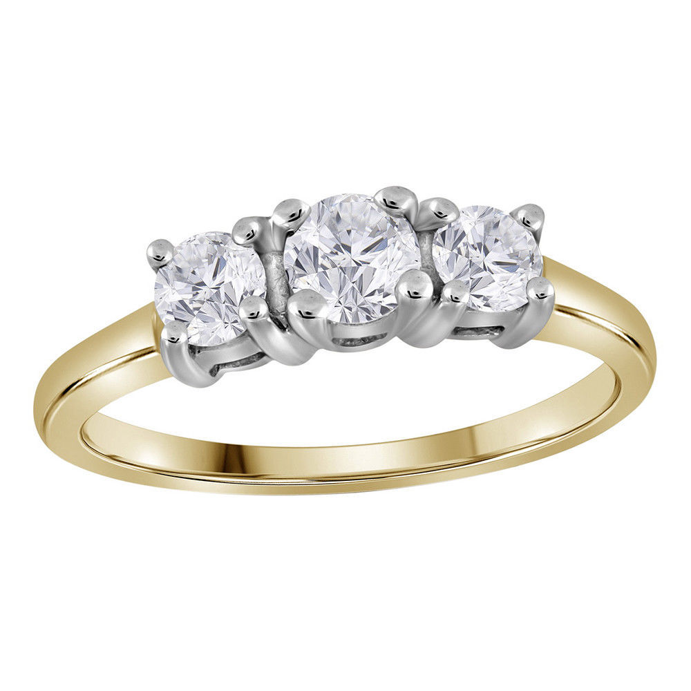 Primary image for 14k Yellow Gold Round Diamond 3-stone Bridal Wedding Engagement Ring 3/4 Ctw