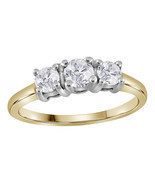 14k Yellow Gold Round Diamond 3-stone Bridal Wedding Engagement Ring 3/4... - $1,786.93 CAD