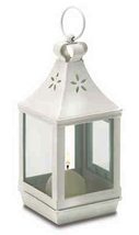 Mini square white metal clear glass cutwork candle holder lantern hangin... - $14.00