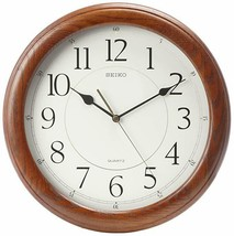 Seiko Wall Clock Quiet Sweep Second Hand Dark Brown Solid Oak Case 13 inch - $101.85