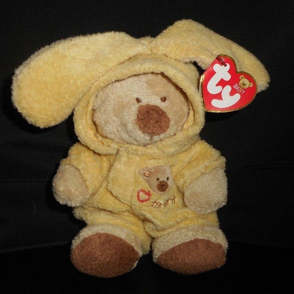 TY PLUFFIES 2004 LOVE TO BABY TEDDY BEAR YELLOW PAJAMAS STUFFED ANIMAL PLUSH TOY