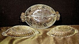 Heavy Etched Cut Glass Relish Tray and Two small Serving Trays AA20-CD0058 Vinta image 4