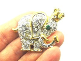 Vintage Elephant Crown Pin Circus Rhinestone Crystal Brooch - $14.20
