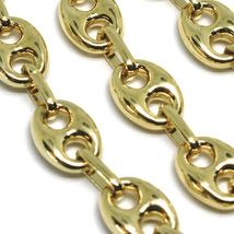 18K YELLOW GOLD MARINER BRACELET BIG 8 MM, 8.3 INCHES, ANCHOR ROUNDED OVAL LINK image 3