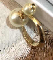 AUTHENTIC Christian Dior 2019 DIOR TRIBLES GOLD HOOP DOUBLE PEARL STAR Earrings  image 5