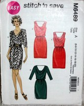 Stitch n Save M6489 Women Chic Evening Dress Sizes 6 to 20 Semi Fit Easy... - $14.00