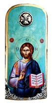 Wooden Greek Christian Orthodox Wood Icon of Jesus Christ / K30 - $24.26