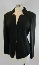14 ST JOHN Black Pique Single Button Notched V-Neck Jacket - $197.99
