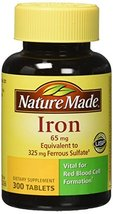 Nature Made 65mg Iron Tablets 300 count (Pack of 2) - $30.79