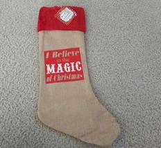 Burlap Christmas Stocking Red Trim I Believe in the Magic of Christmas 2... - $3.95