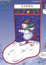 Happy Holly Days Ski Snowman Christmas Cross Stitch Stocking Kit 51326 E - $62.95