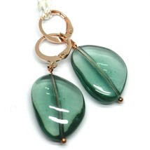 """PENDANT ROSE EARRINGS GREEN ROUNDED DROP MURANO GLASS 4cm 1.6"""", MADE IN ITALY image 1"""