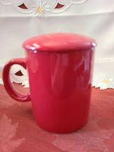 Ceramic Tea or Coffee Mug with Lid - 11oz - Red Omniware image 4