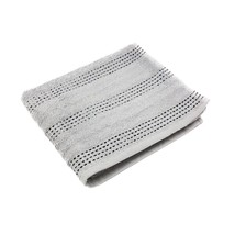 2 X LUXURY STRIPED 100% COMBED COTTON SOFT ABSORBANT SILVER HAND TOWELS - $16.96