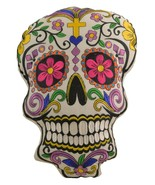 Sugar Skull Throw Pillow Detailed with Colors  with Decorative Gift - $24.95