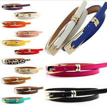 Women's Fashion Candy Colour Faux Leather Buckle Skinny Belt Thin Waistband - $4.51