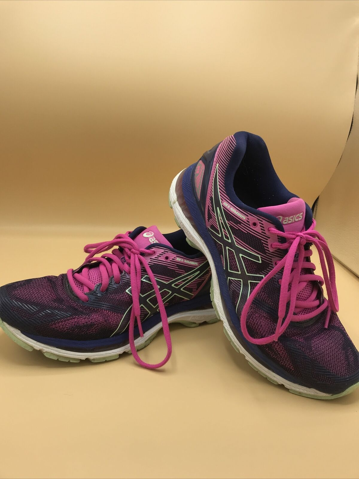 Primary image for Women's ASICS Gel Nimbus 19 T750N Purple/Pink/Green Athletic Shoes Women's 8.5