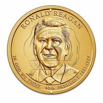 "40th President Ronald Reagan Gold Coin Design 12"" Circle Aluminum Sign - $16.09"