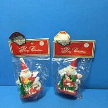 NIP Vintage Plastic Christmas Village Santa w/ Bottle Brush Tree Figurin... - $7.95