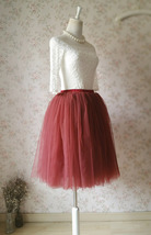 BURGUNDY Midi Tulle Skirt Womens High Waisted Burgundy Wine Red Tulle Skirts   image 2