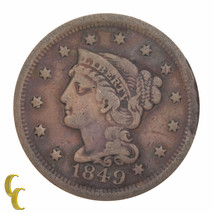 1849 Braided Hair Large Cent 1C Penny (Fine, F Condition) - $29.69