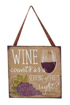 "KURT S. ADLER ""WINE COUNTS AS A SERVING OF FRUIT RIGHT?"" PLAQUE XMAS ORN... - $4.88"