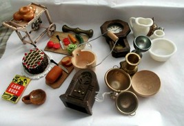 Miniature Kitchen Mixed Lot Tea Cart Cake Radio Clock Pitcher Bucket Cut... - $19.79