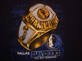 NBA Dallas Mavericks Basketball 2011 Champions Blue T Shirt Size 2XL Roster  - $17.81