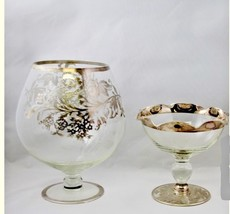 Brandy Sniffer  Sterling Overlay  Glass Dish Silver  Floral Design - $54.45