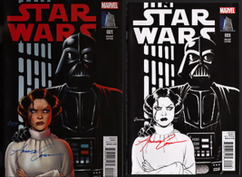 SIGNED Star Wars #1 Marvel Amanda Conner Art Variant SET ~ Carrie Fisher... - $39.59