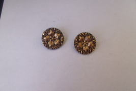 vintage clip on earrings gold tone overlay blac... - $4.00
