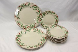 Old Time Pottery Xmas Holly Ribbon Dinner and Salad Plates Lot of 10 - $48.51
