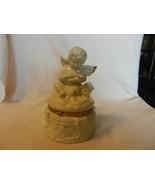 White Ceramic Angel Cherub With Dove Trinket Box with Gold Trim from SEI - $37.13