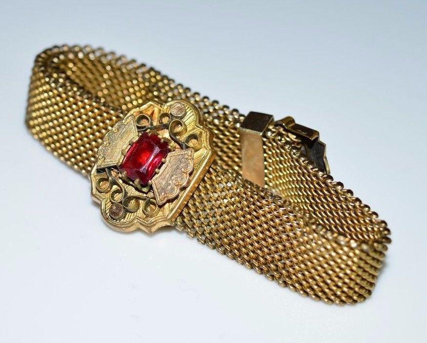 VTG W.E.W. Co Gold Filled Metal Mesh Red Rhinestone Slide Bracelet