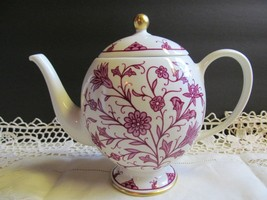 Franciscan China Lorraine Maroon 7 Inch Teapot and Lid Maroon Rare Fab 1946-52 - $100.98