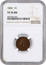 1866 1c NGC VF25 BN - Indian Cent - $116.40