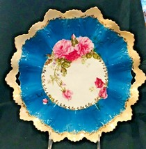 Victorian Bright Pink Rose Floral Bright Blue Tab Handle Platter Plate 1... - $34.65