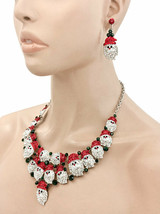 Fun Santa Claus Christmas Bib Necklace Earrings Set Red Clear Green Rhinestone - $51.30