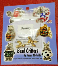 VINTAGE BUNNY BEAD CRITTERS BEAD WRAP BY PENNY MICHELLE 1995 GOLDTONE