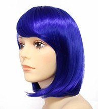 Short Straight Bob Wig Hair Wigs With Oblique Bangs Heat Resistant Synth... - $16.18