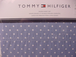 Tommy Hilfiger White Polka Dots on Blue Easy Care Sheet Set Queen - $85.00