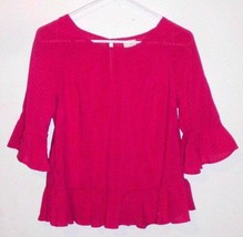 A NEW DAY Shirt Top Sz Small Women's Magenta 3/4 Sleeve Slightly Sheer  - $15.83
