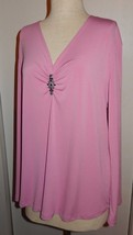 NEW W/Tags Lane Bryant Pink Ruched Neck Long Sleeve Knit Blouse Size 14/16 - $14.99