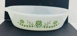 Vintage Glasbake Oval Casserole Dish Bowl White Green Daisy Flower 1 QT ... - $9.89